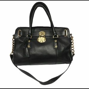 Emma Fox Leather Black Handbag Lock Detail
